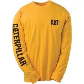 Caterpillar Trademark Banner Long Sleeve Tee 1510034-555 Yellow