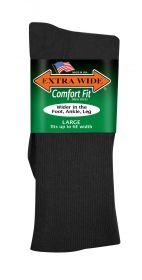 Extra Wide  Dress Sock 3801 Black L