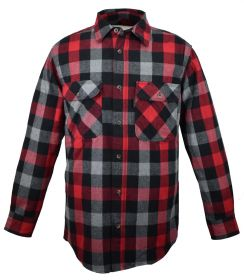 Five Brother Mens Heavyweight Regular Fit Flannel Shirt  5200T PL-1A RedGrey