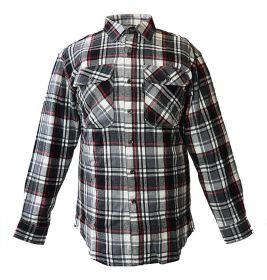Five Brother Mens Heavyweight Regular Fit Flannel Shirt 5200 PL-6A BlackWhite