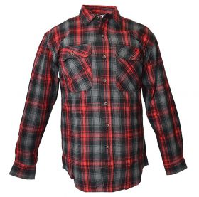 Five Brother Mens Heavyweight Regular Fit Flannel Shirt 5200 PL-6B BlackRed