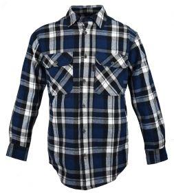 Five Brother Mens Heavyweight Regular Fit Flannel Shirt 5200 PL-7B BlackBlue