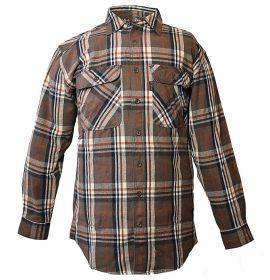 Five Brother Mens Heavyweight Regular Fit Flannel Shirt Big 3XL Chocolate 5200B PL-5A
