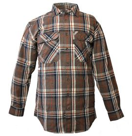 Five Brother Mens Heavyweight Regular Fit Flannel Shirt Chocolate 5200 PL-5A
