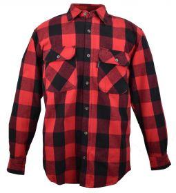 Five Brother Mens Heavyweight Regular Fit Flannel Shirt RedBlack 5200 PL-4A