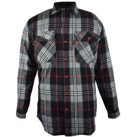Five Brother Mens Heavyweight Regular Fit Flannel Shirt Tall 5200T PL-9A BlackGrey
