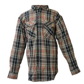 Five Brother Mens Heavyweight Regular Fit Flannel Shirt Taupe 5200 PL-2A