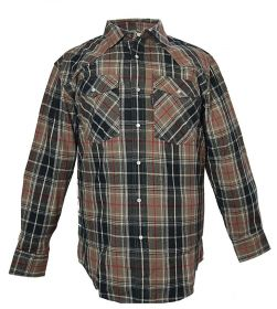 Five Brother Mens Heavyweight Regular Fit Western Flannel Shirt 5201R PL-2A Taupe