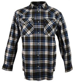 Five Brother Mens Heavyweight Regular Fit Western Flannel Shirt 5201T PL-3B Brown