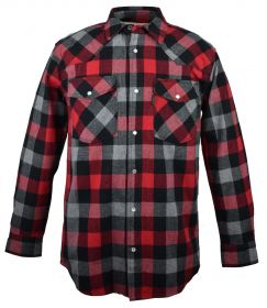 Five Brother Mens Heavyweight Regular Fit Western Flannel Shirt 5201 PL-1A RedGrey