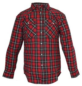 Five Brother Mens Heavyweight Regular Fit Western Flannel Shirt 5201 PL-2B Red