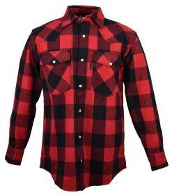 Five Brother Mens Heavyweight Regular Fit Western Flannel Shirt 5201 PL-4A RedBlack