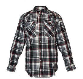 Five Brother Mens Heavyweight Regular Fit Western Flannel Shirt 5201 PL-6A BlackWhite