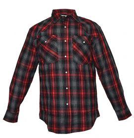 Five Brother Mens Heavyweight Regular Fit Western Flannel Shirt 5201 PL-6B BlackRed