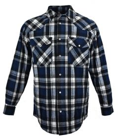Five Brother Mens Heavyweight Regular Fit Western Flannel Shirt BlackBlue 5201B PL-7B