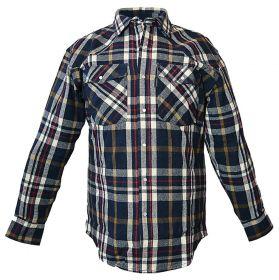 Five Brother Mens Heavyweight Regular Fit Western Flannel Shirt Blue 5201 PL-1A