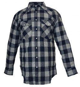 Five Brother Mens Heavyweight Regular Fit Western Flannel Shirt NavyGrey 5201 PL-5B
