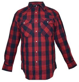 Five Brother Mens Heavyweight Regular Fit Western Flannel Shirt RedNavy 5201 PL-5A