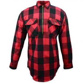 Fivebrother  Zip Front Logger Flannel  Shirt 5900T PL-4 A  RedBlack