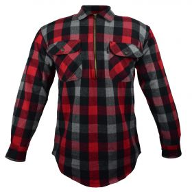 Fivebrother  Zip Front Logger Flannel  Shirt 5900 PL-1 A  RedGrey