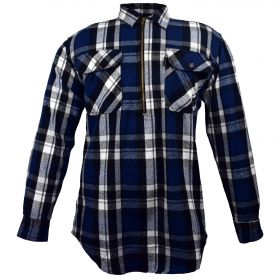 Fivebrother  Zip Front Logger Flannel  Shirt 5900 PL-7 B  BlackBlue