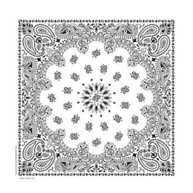Traditional Paisley Bandanna White