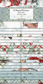 Wilmington Prints Pre-Cuts A Magicial Christmas 2 12 Strips 840-628-840
